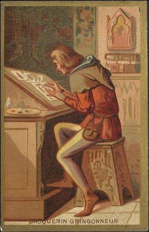"""Jacquemin Gringonneur raffigurato in una carta datata tra fine '800 e inizio '900. Sul finire del XIV secolo l'artista francese realizzò tre mazzi di carte """"per lo svago del nostro sventurato Re Carlo VI""""."""